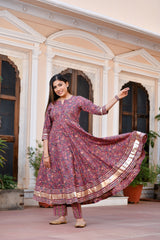 Lovely Lush Anarkali Gher Suit With Silver Gota Work & Chanderi Silk Dupatta