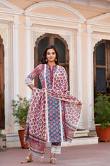 Red Blossoms Stellar Lace Detail Handblock Suit With Chanderi Silk Dupatta