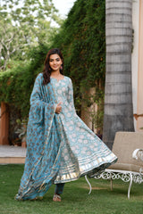 Misty Green And Blue Handblock Gher Suit With Chanderi Silk Dupatta