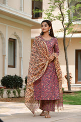 Lovely Lush Handblock Print Straight Fit Suit Set With Chanderi Silk Dupatta