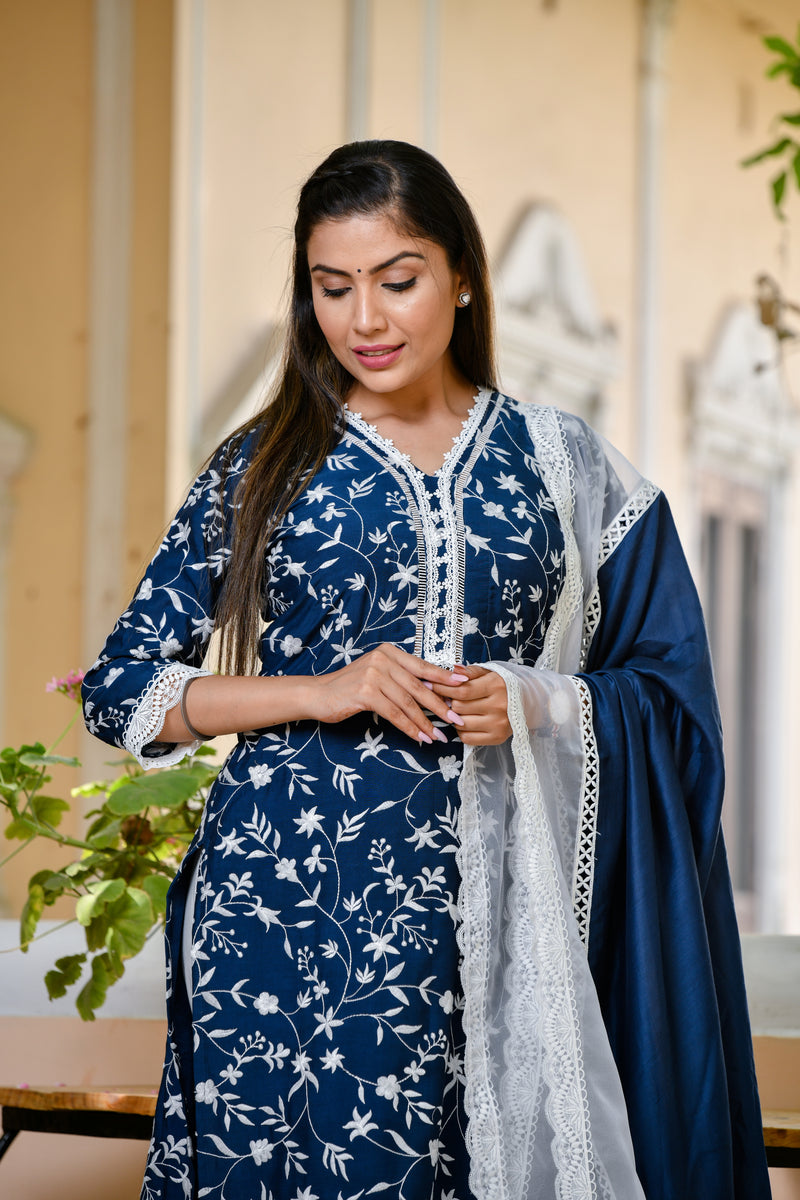 Navy Blue Embroidered Silk Suit Set With Gorgeous Lace Detail