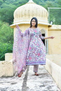 Beautiful Gather Handblock Floral Suit Set in White with Zari Kotadoria Dupatta