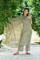 Green Monochrome Handblock suit with Chanderi Dupatta