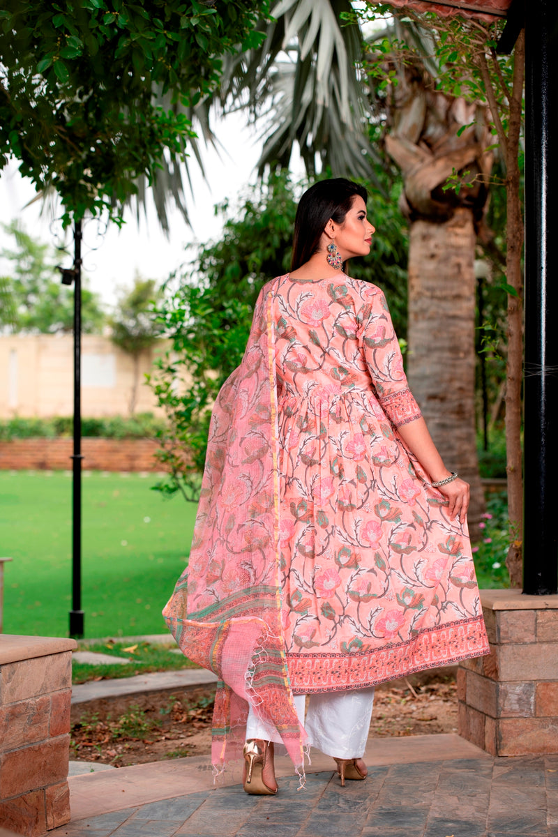 Beautiful floral handblock set with self embroidered cotton pants & kota doriya  duptta in peach