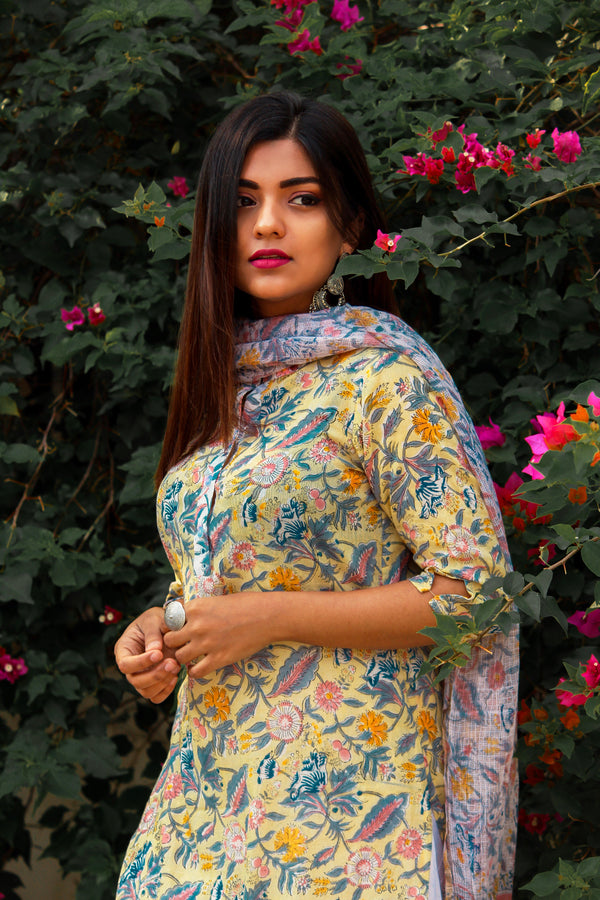 Summer Floral Yellow Kurta with Embroidered Palazzo and Dupatta