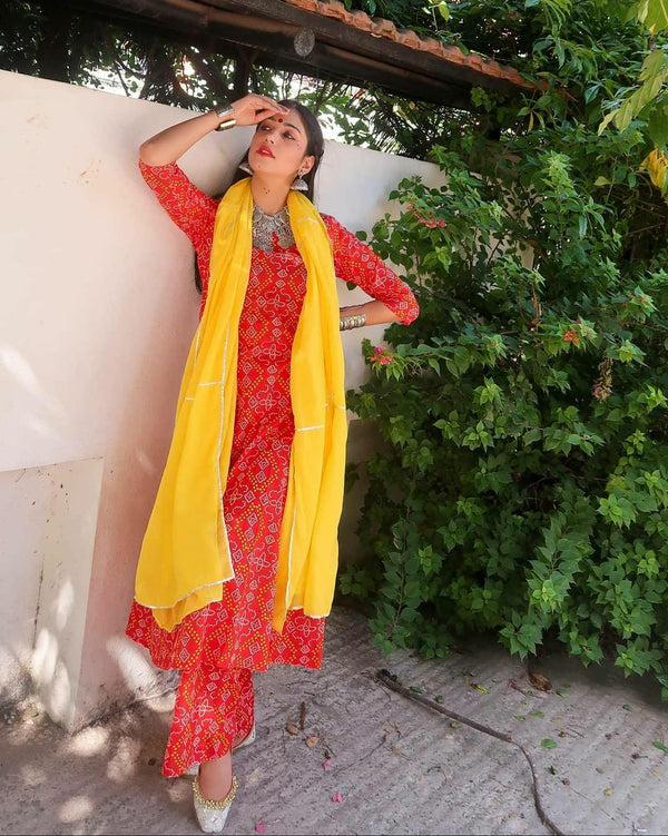 Festival favourite Red Bandhej Set with Yellow Gota work Dupatta