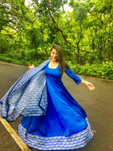 Royal Blue Modal Silk Dress with Beautiful Floral KotaDoria Dupatta