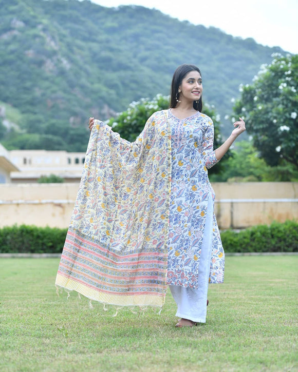Summer Floral White Kurta with Embroidered Palazzo and Chanderi Dupatta