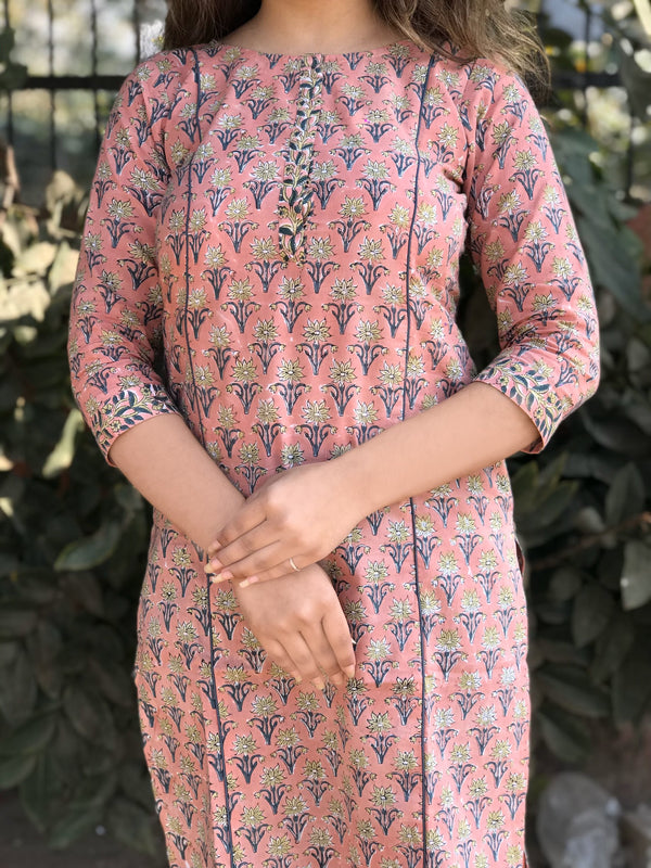 Pretty Pastel Pink Kurta in Handblock Cotton