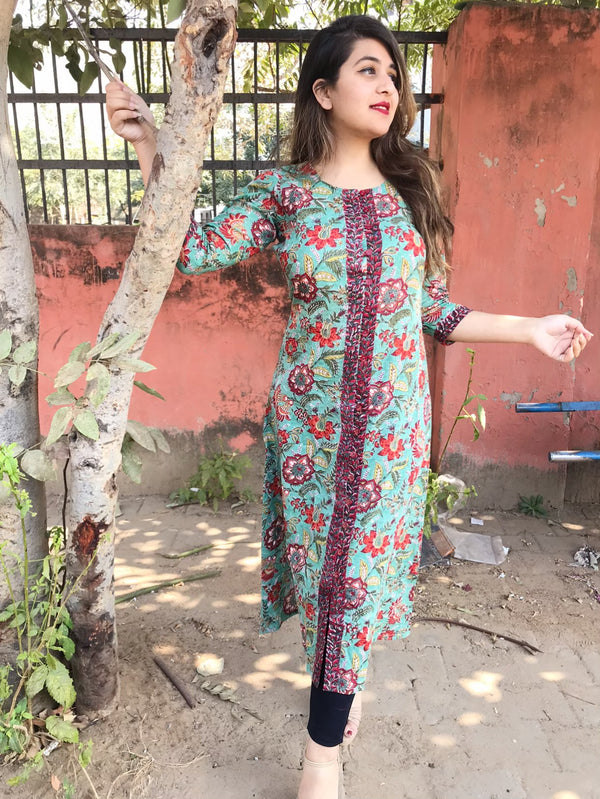 Gorgeous Green Handblock kurta with front border detail