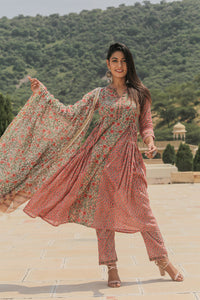 Side Pleated Floral Suit set with Tassel Detail and Chanderi Dupatta