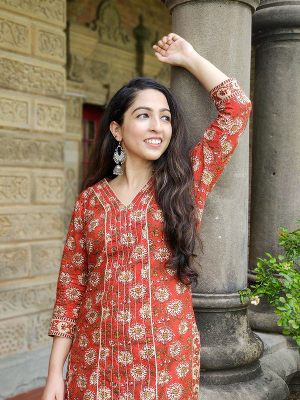 Rust Red Floral Kurta and Palazzo set