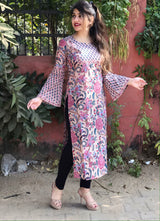 Beautiful Biege Floral Kurta in Jaipuri Mul Handblock Cotton