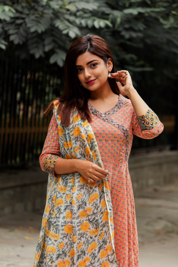 Angrakha Style Kurta with Mogra Print Chanderi Silk Dupatta and Palazzo