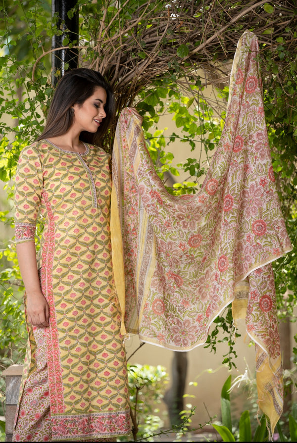 Fresh Lotuses Handblock suit set with Chanderi Silk Dupatta