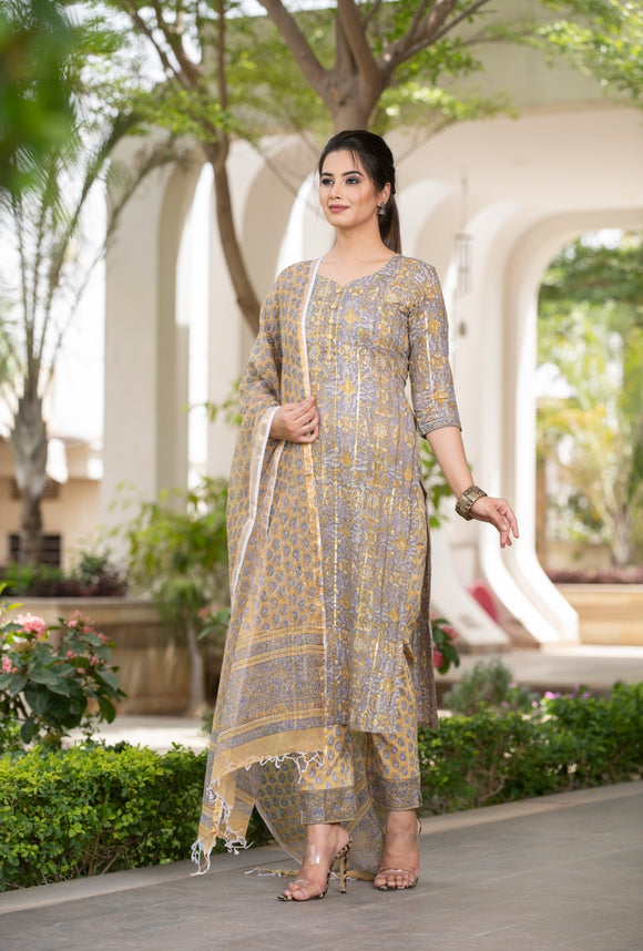 Unique Grey and Mustard combination Handblock suit with Kotadoria Dupatta