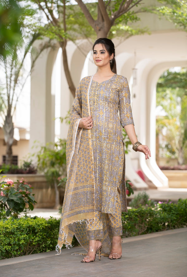 Unique Grey and Mustard combination Handblock print suit set with Kotadoria Dupatta
