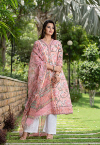 Peach A-line Floral Handblock set with embroidered pants and Kotadoria Dupatta