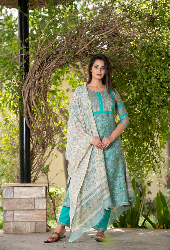 Premium Jade Chanderi Silk Handblock Suit with contrast Off-white Dupatta