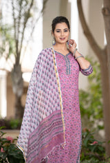 Lovely Lavender Straight fit Handblock set with Kotadoria Dupatta