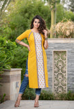 Floral Front Panel Kurta in Mustard with Border Detail