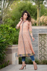 Pastel Peach kurta in A-line in Handblock cotton