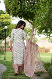 Pink and White Patiala Handblock Suit set with Kotadoria Dupatta