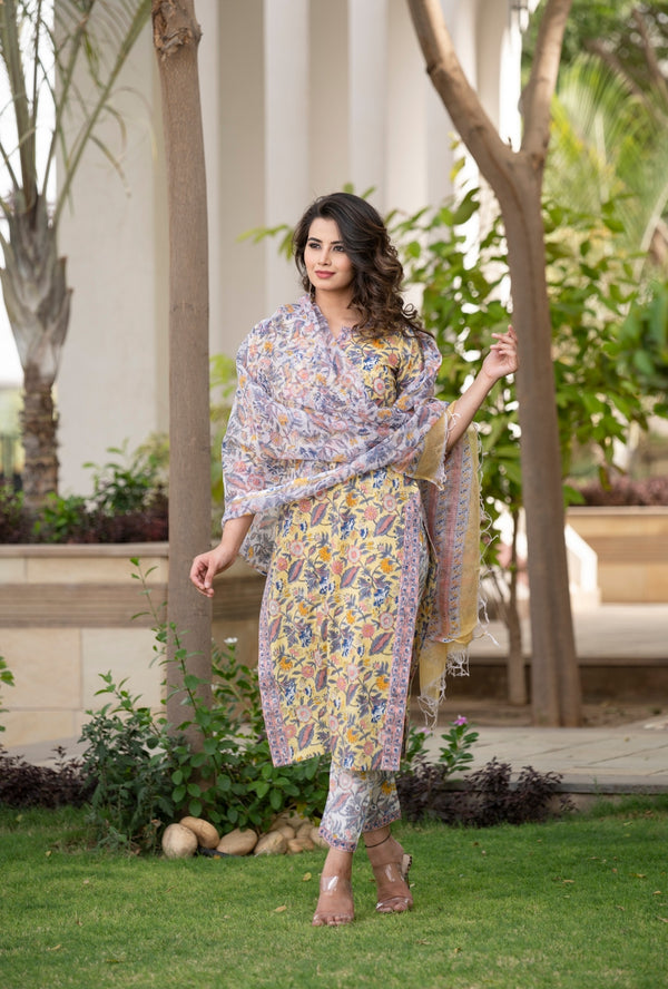 Floral all over the Place Handblock Suit set with Kotadoria Dupatta