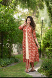 Rust Red Floral Kurta and Palazzo set with Fromt Slit detail