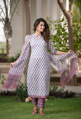 Elegant in White Floral Handblock suit set with Kotadoria Dupatta