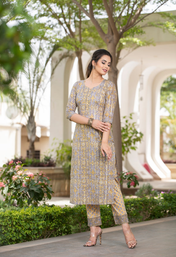 Unique Grey and Mustard combination Handblock Kurta and Palazzo set