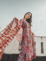 Intricate Lace Detail Red Blossom Handblock suit set with Chanderi Silk Dupatta