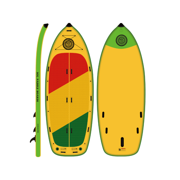 SOLfiesta Inflatable Paddle Board Classic Series Side, Top and Bottom View