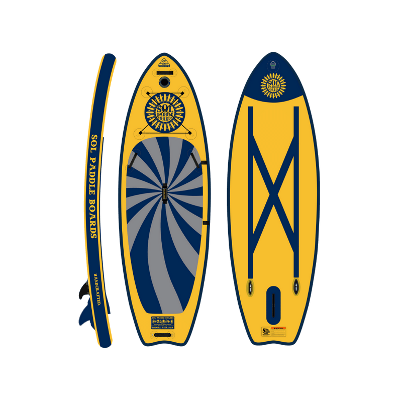 SOLshine Inflatable Paddle Board GalaXy Collection Side, Top and Bottom View