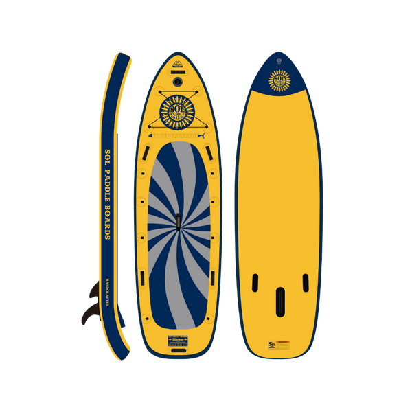 SOLsombrero Inflatable Paddle Board Infinity Collection Side, Top and Bottom View