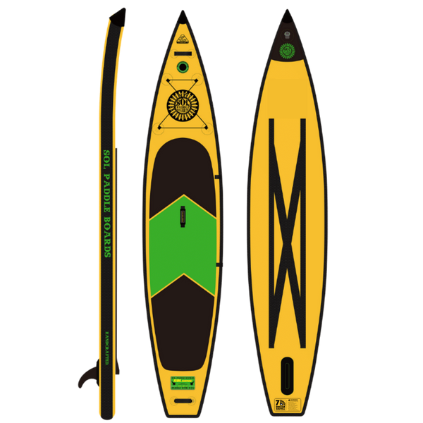 SOLsonic Inflatable Paddle Board Carbon GalaXy Collection Side, Top and Bottom View