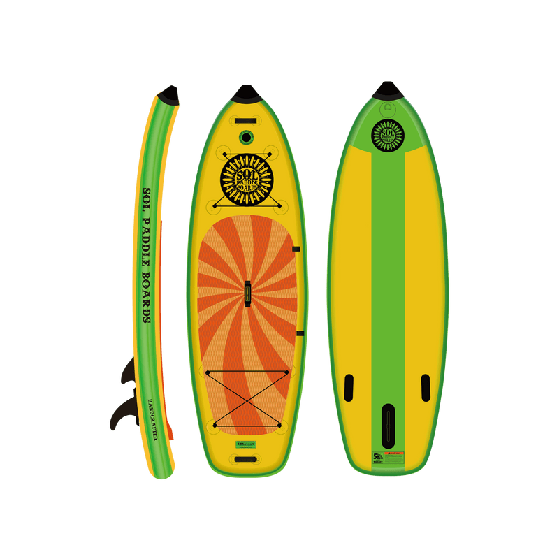 SOLstout Inflatable Paddle Board Classic Series Side, Top and Bottom View
