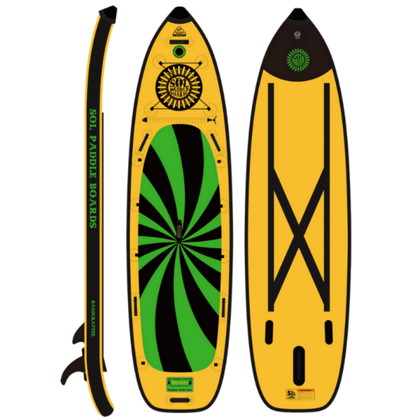 SOLsumo Inflatable Paddle Board Carbon GalaXy Collection Side, Top and Bottom View