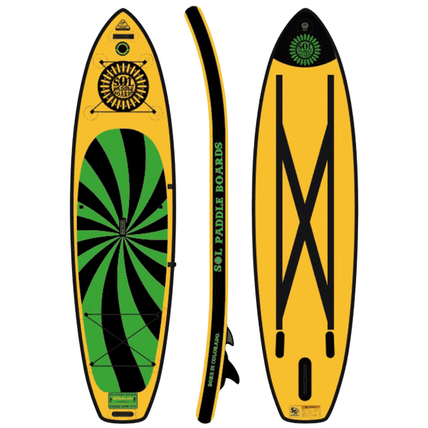 SOLtrain Inflatable Paddle Board Carbon GalaXy Collection Side, Top and Bottom View