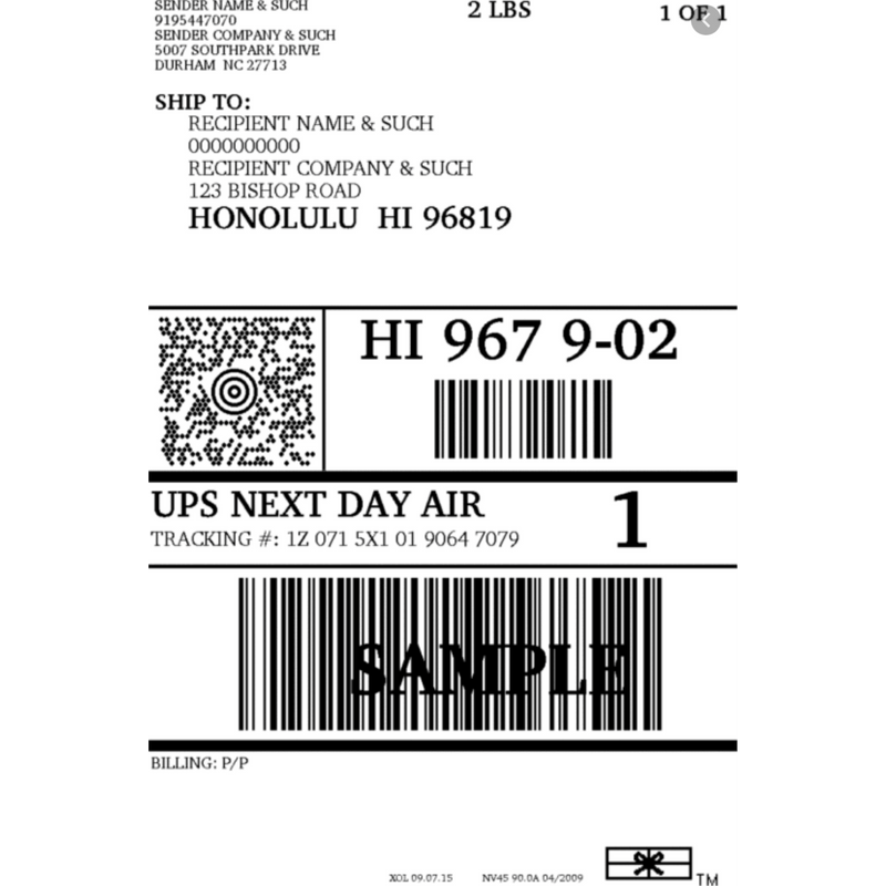 SOL Paddle Boards Shipping Label