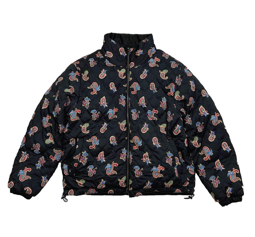 REVERSIBLE QUILTED PAISLEY PUFFER