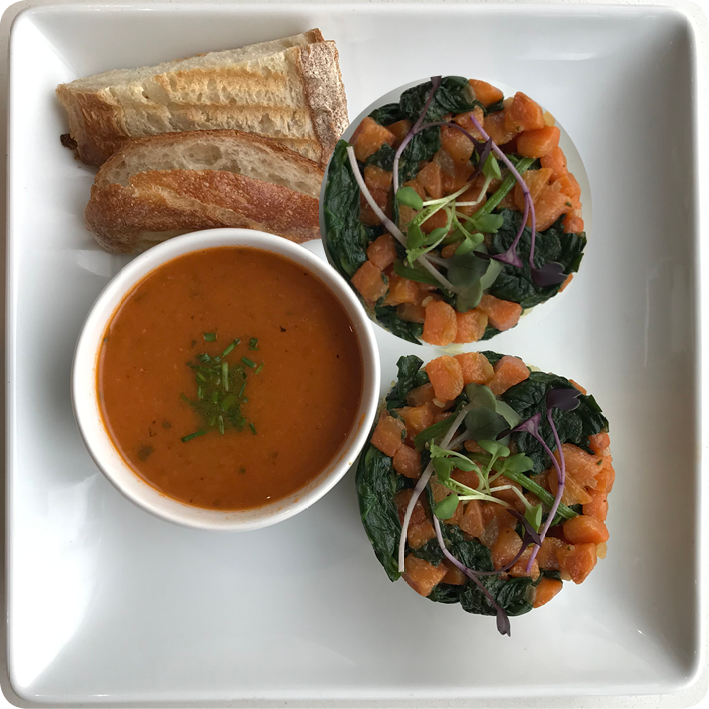 Chef's SPECIAL:  Potato Cakes & Bisque