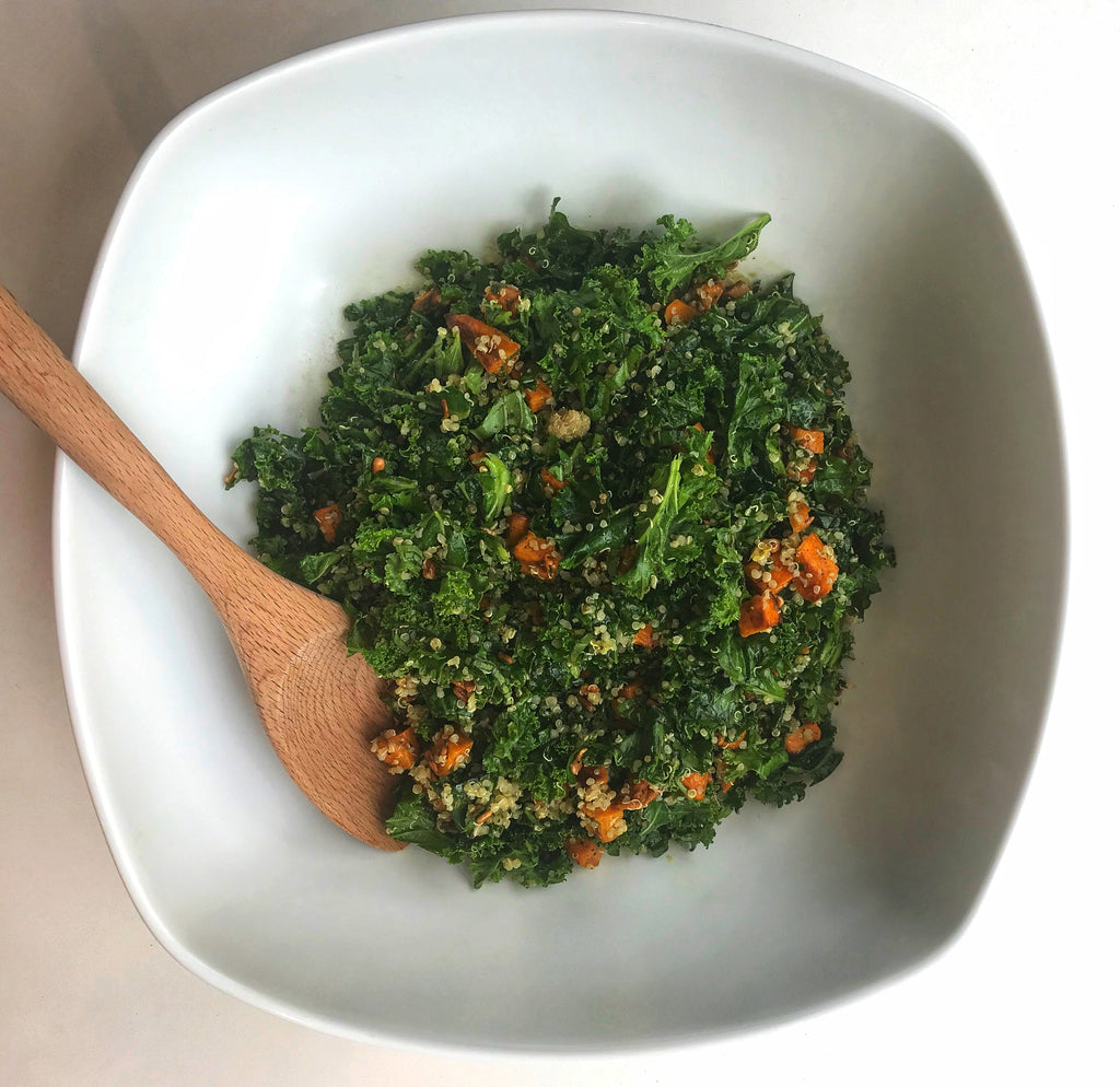 Sweet Potato Kale and Quinoa salad with Pesto Vinaigrette