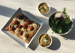 DINNER BOX 6/12: ZUCCHINI ricotta FLATBREAD, with soup, salad, dessert