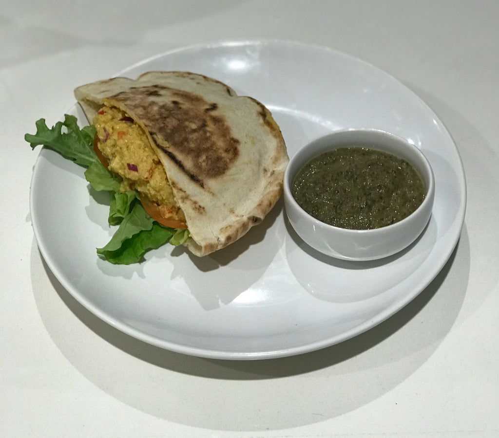 Guest Chef's SPECIAL:  Coconut Truffle cream of Mushroom Soup with Cashew Curry Salad Pita