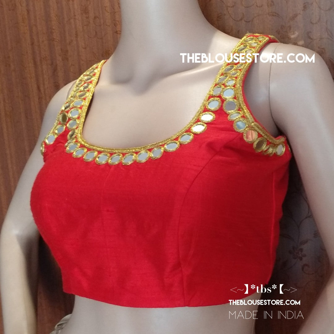 Gorgeous mirror work blouse in red