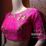 Maggam Work Blouse Design 144 - Beautifully crafted sequins blouse in Pink