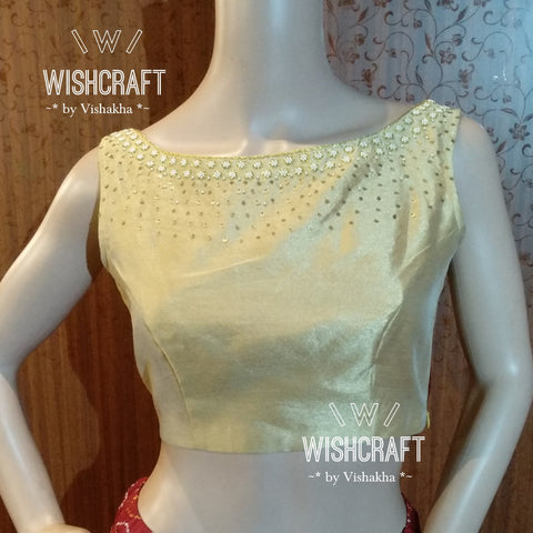 Beautiful pearl work blouse in boatneck style