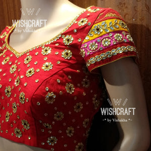Beautifully handcrafted kundan work bridal blouse