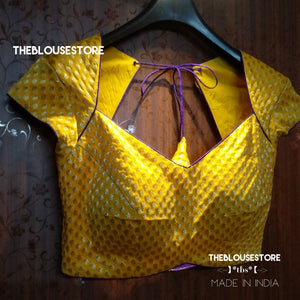 Designer blouse in yellow banaras